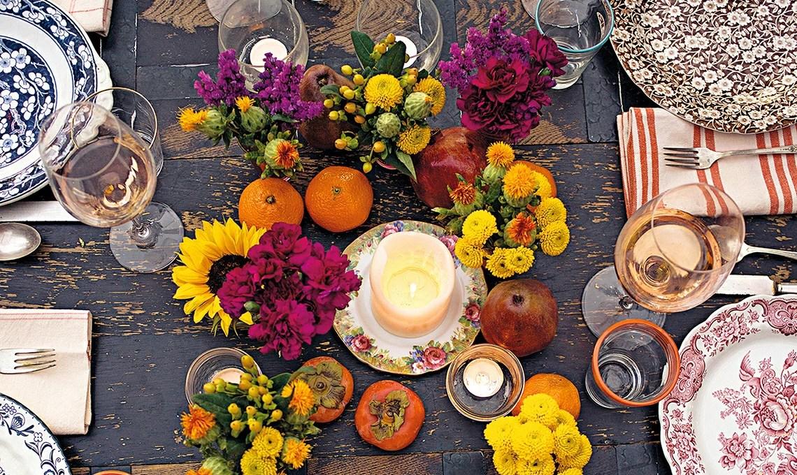 Il centrotavola autunnale con fiori frutta e candele  CASAfacile