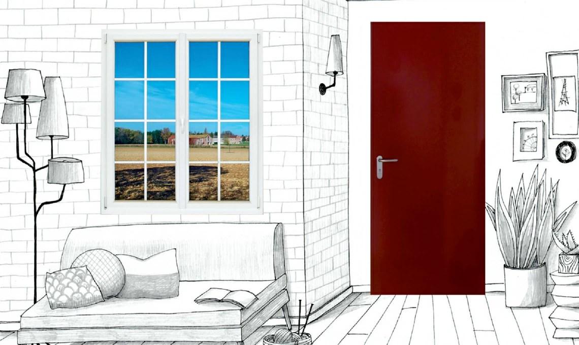Finestra in pvc allinglese abbinata alla porta in acciaio