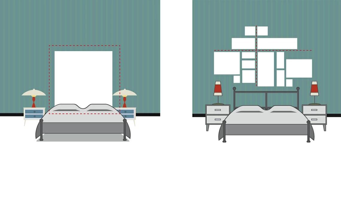 Appendere i quadri dietro al letto effetto testiera o schema geometrico  CASAfacile