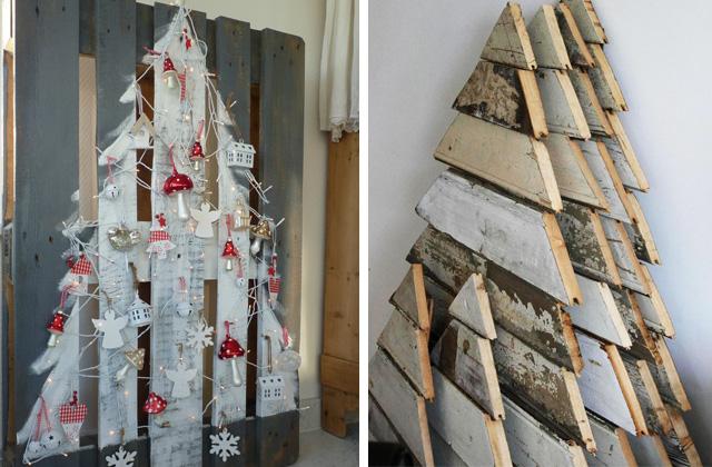 Un albero di Natale originale con le pedane in legno