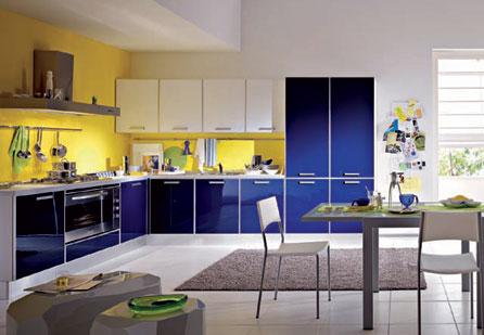 Progetto 3d cucina bianca top legno divano blu decorazioni, mobili,. Imbiancare Cucina Soggiorno Ambiente Unico Con Arredo Moderno