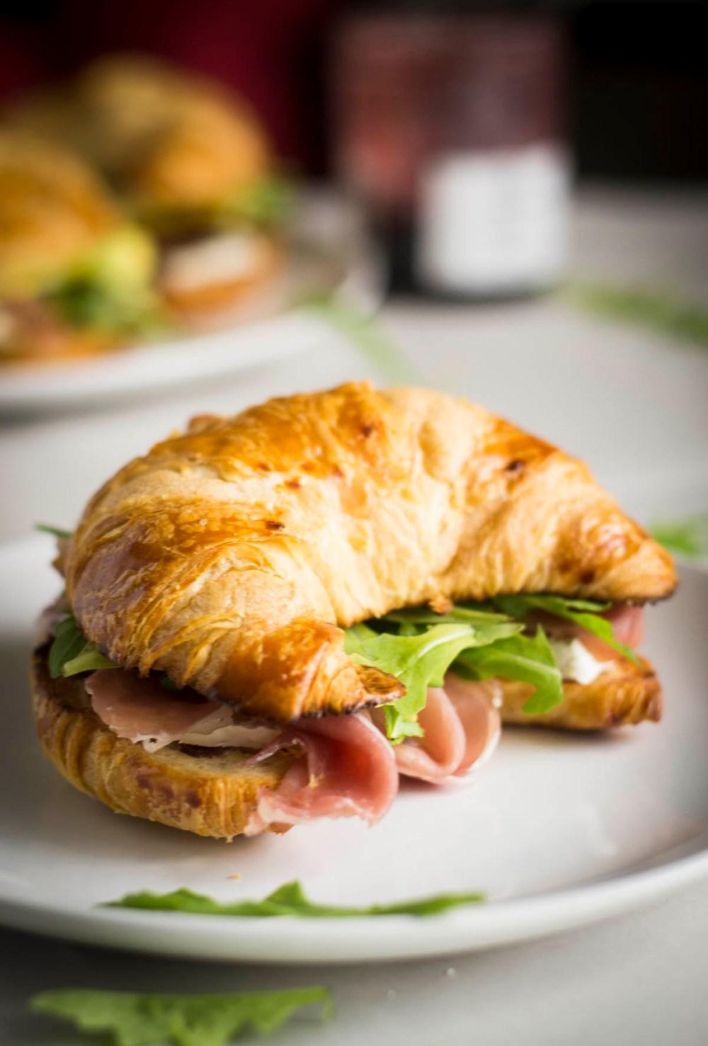 Breakfast Croissant Sandwiches on plate