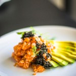 close up shot of Salmon Tartare with Fennel and Caviar