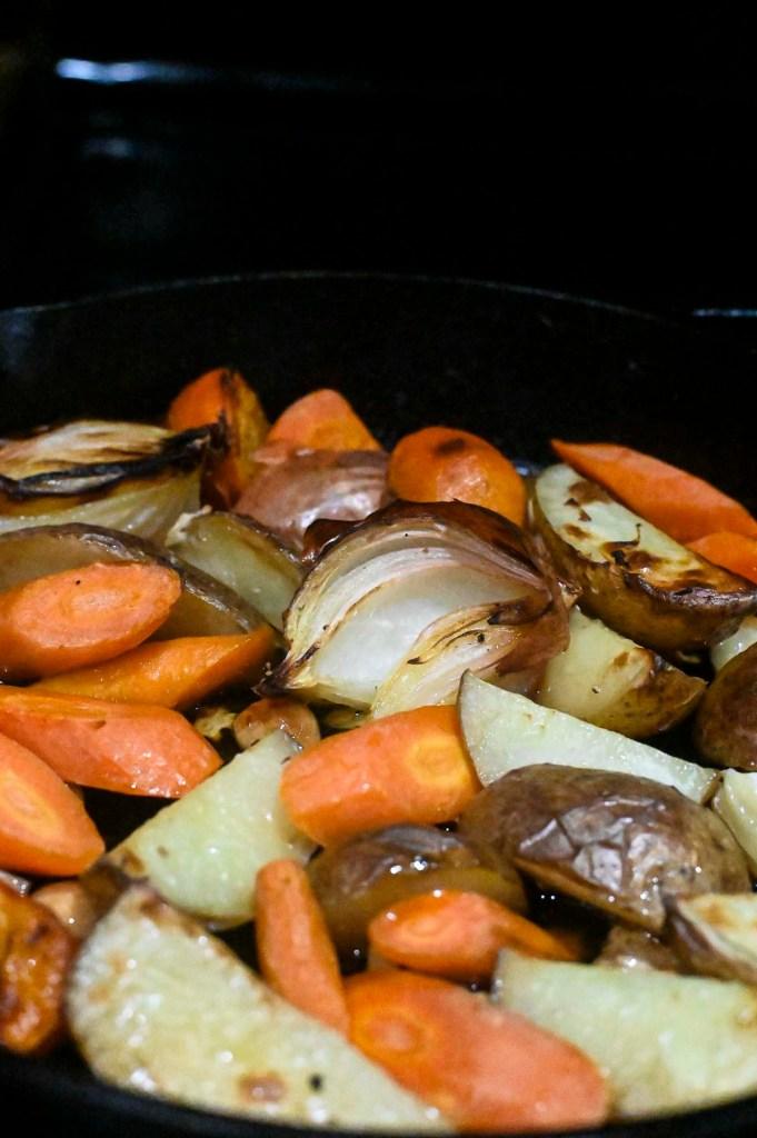 close up of roast vegetables