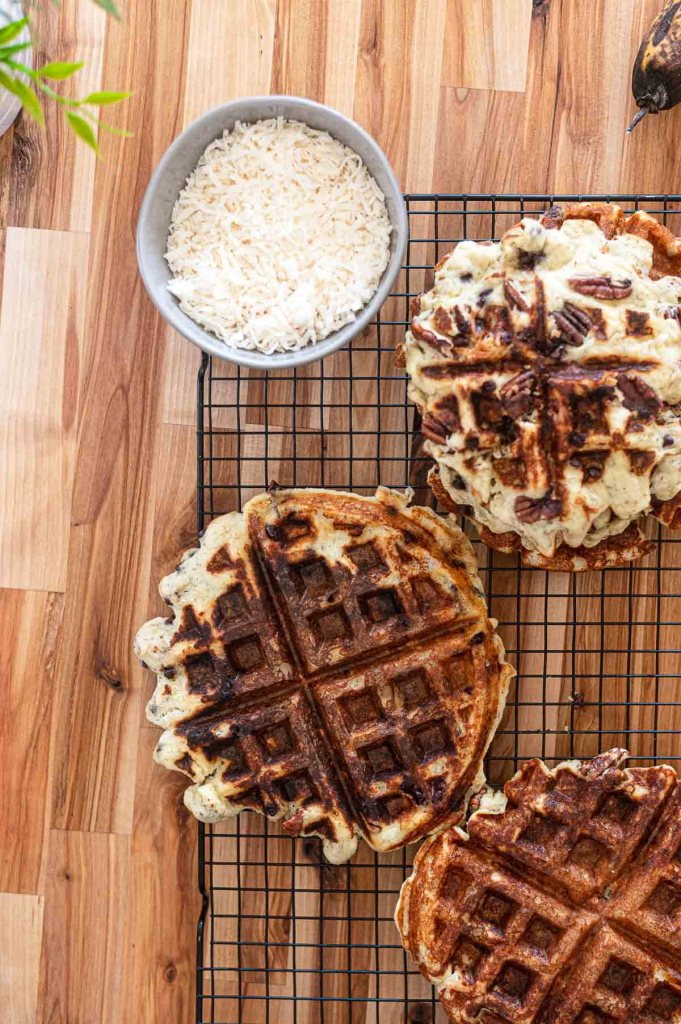 Close up waffles with shredded coconut
