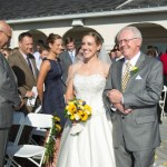 Bride and father walking down aisle, Patio, Wedding Receptions and Ceremonies at Casa Larga Vineyards