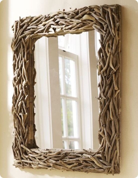 decorazioni fai da te specchio cornice rametti