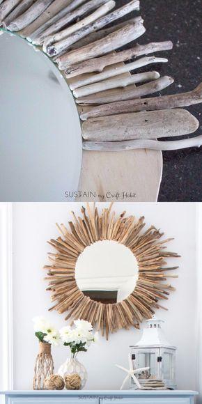 decorazioni fai da te specchio rotondo legnetti