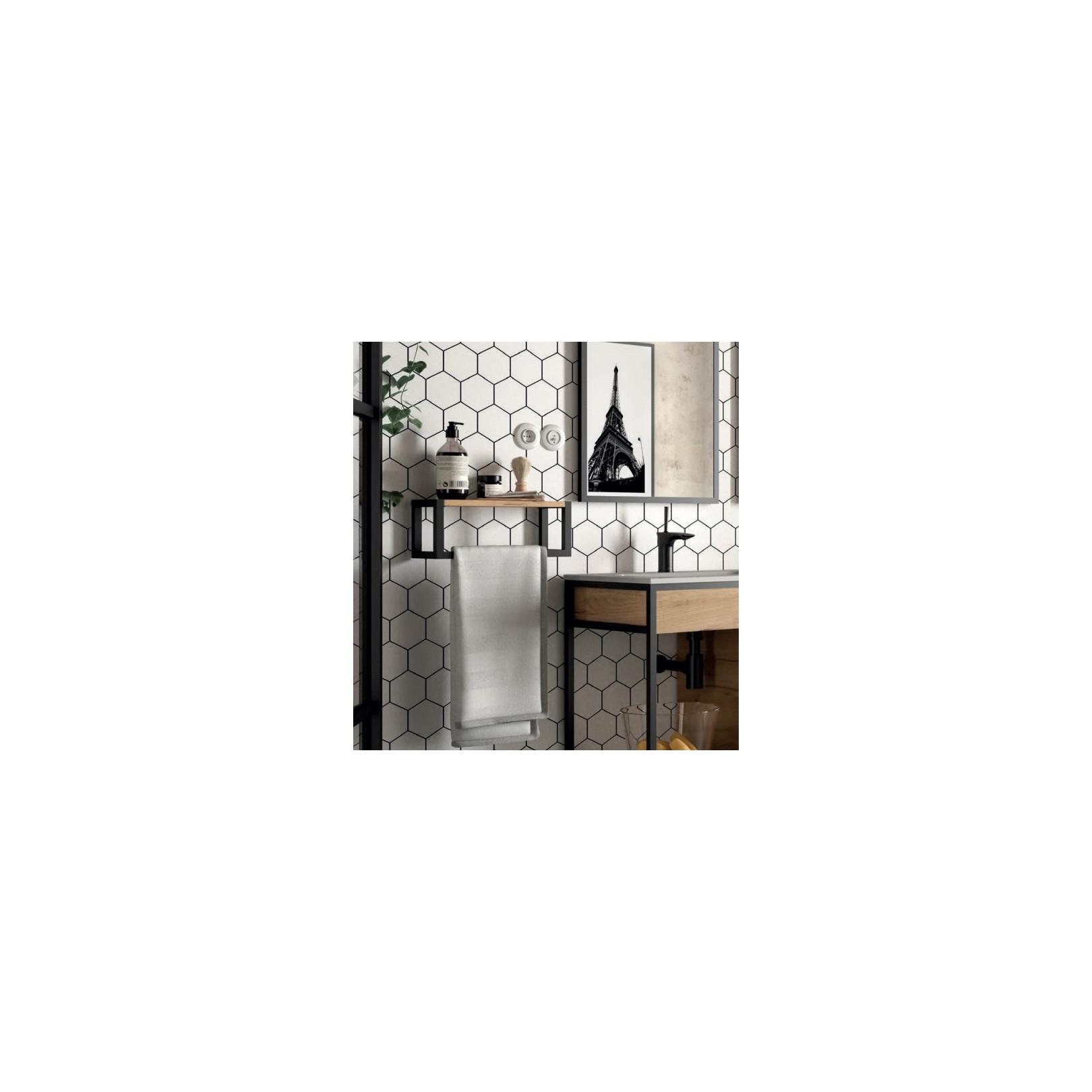 etagere avec porte serviette bain suspendu vinci avec structure alu laque noir et chene africain largeur 40 ou 60cm