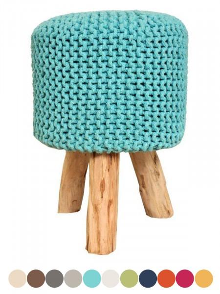 Sitzhocker StrickHocker Pouf Schemel mit Holzfen  35 cm Hhe 45 cm in vielen Farben