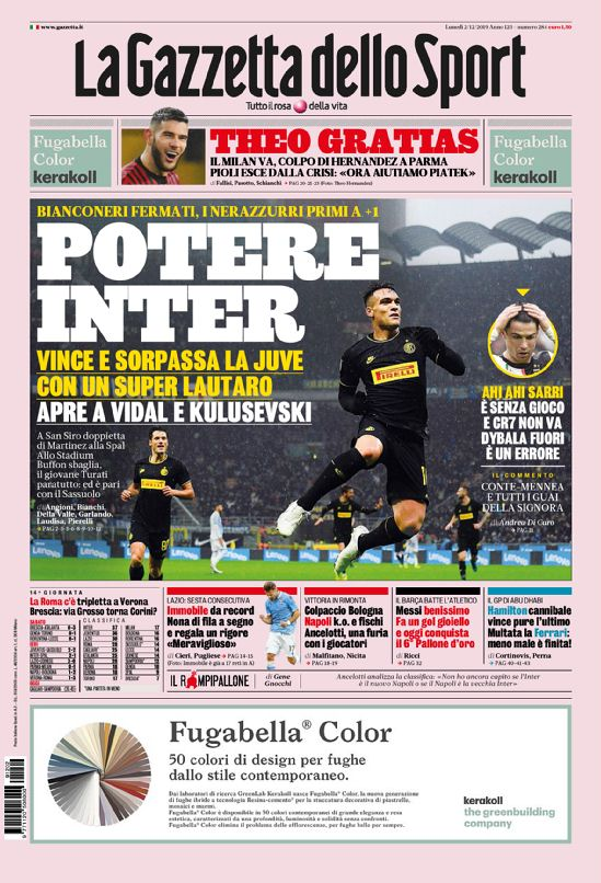prima pagina la gazetta dello sport