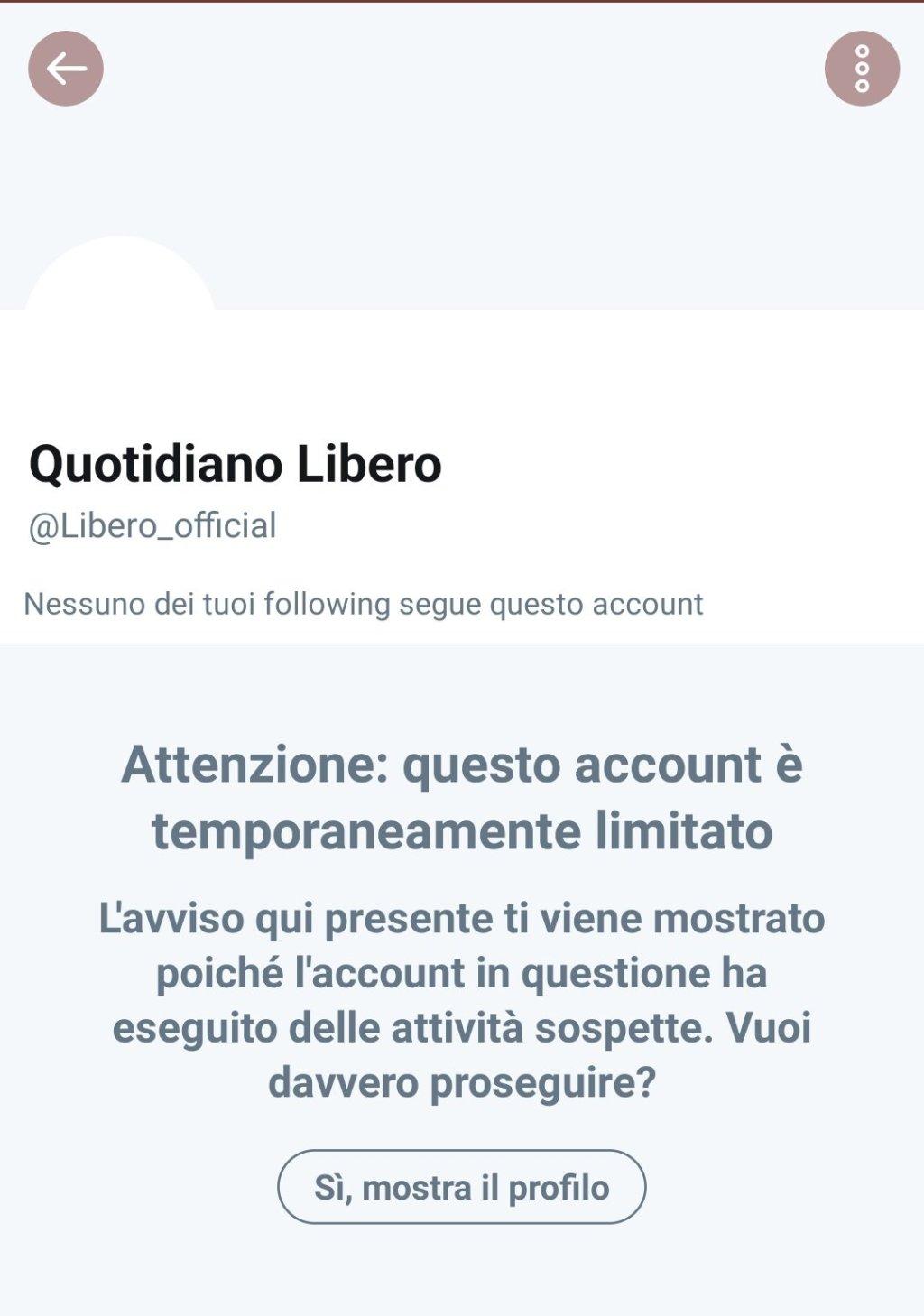 Twitter sospende Libero