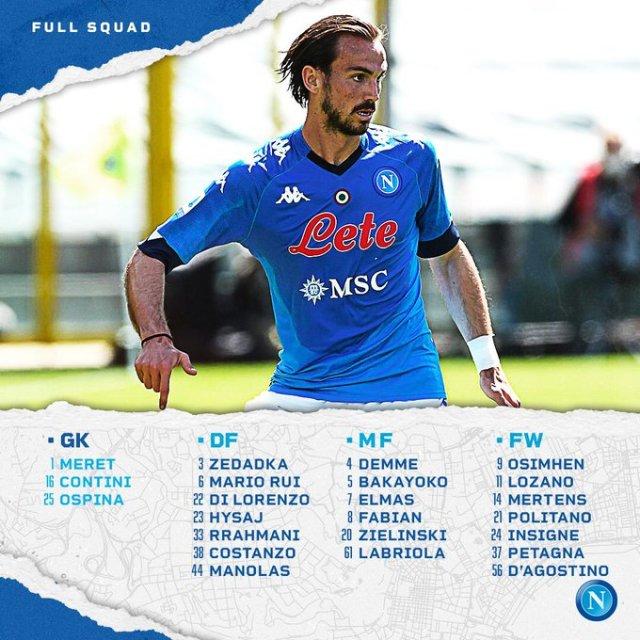 SSC Napoli lista convocati Udinese