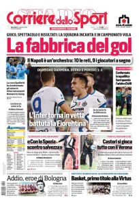 Prima Pagina Corriere dello Sport edizione Campania 22 Settembre