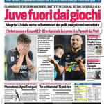 """PRIMA PAGINA – Corriere dello Sport: """"Juve fuori dai giochi"""""""