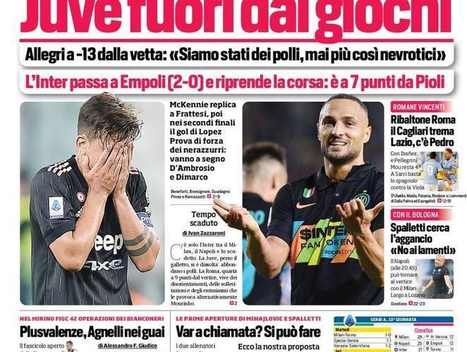 Prima Pagina Corriere dello Sport 28 Ottobre
