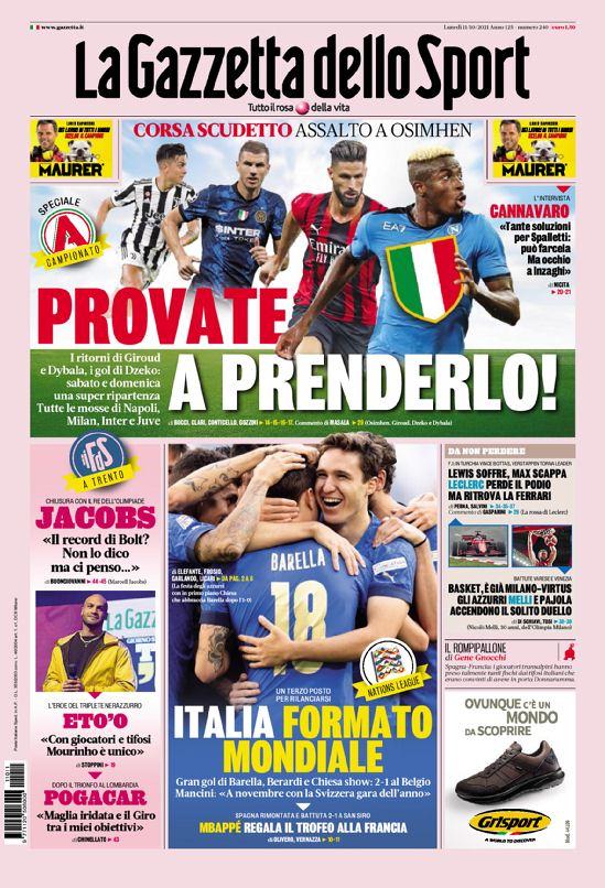 Prima Pagina Gazzetta dello Sport 11 Ottobre