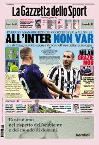 Prima Pagina Gazzetta dello Sport 25 Ottobre