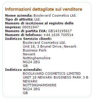 Amazon informazioni dettagliate sul venditore