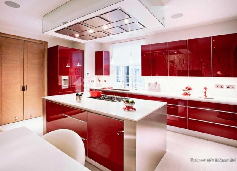 red and glossy kitchen cabinet