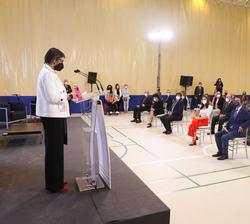 Doña Letizia en el pabellón durante el inicio del congreso educativo sobre Enfermedades Raras