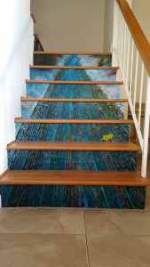 Casart coverings customer creek custom Photo Stair Riser Mural temporary wallpaper