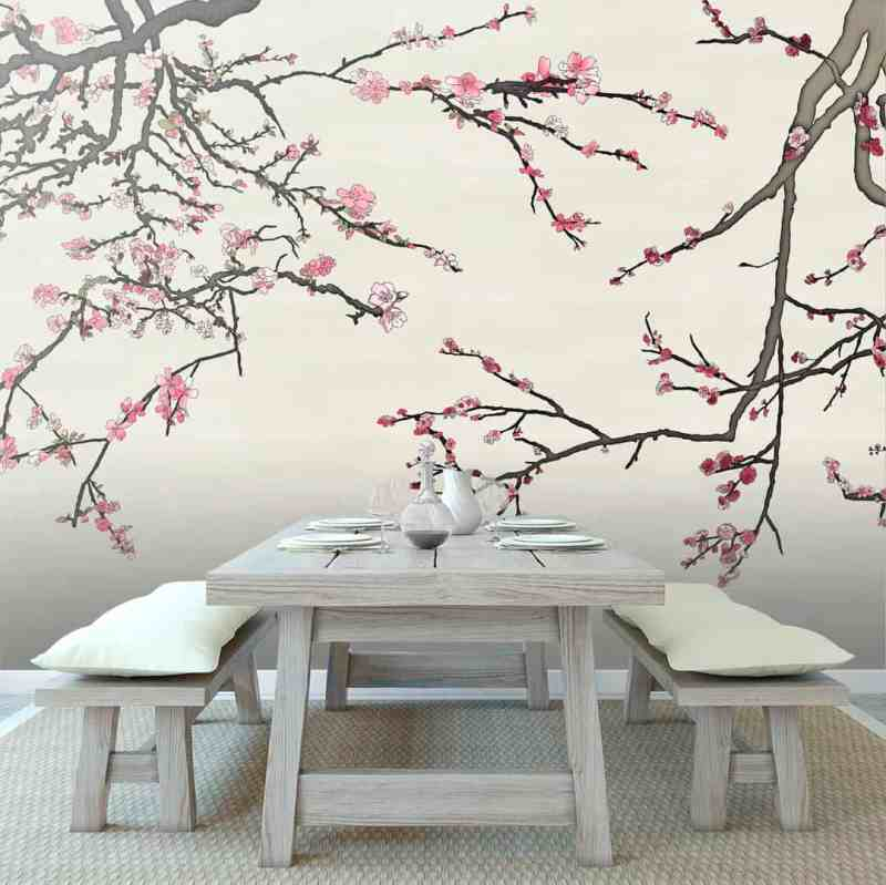 Colored Asia Blossom Casart Coverings temporary wallpaper with Pearl Raw Silk in Rustic Japanese Dining Room