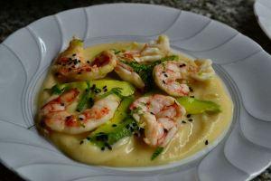 """Prawn & Avocado """"Tiradito"""", Harissa Cauliflower Puree"""