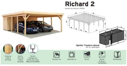 Porche en madera richard 2 cochera doble casas carbonell - Porches para coches ...
