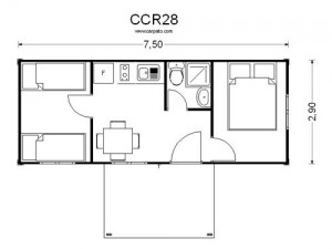 casas baratas de madera plano CCR 28
