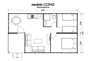 casas baratas en madera CCR42 plano de Casas Carbonell