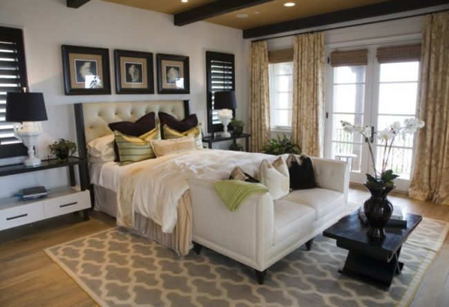 trendy-area-rug-with-tufted-headboard-in-gorgeous-bedroom-idea-plus-leather-bench-with-arms-design