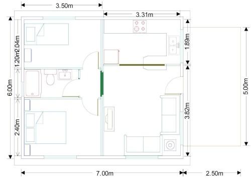 Plano Casa de madera Alicante 42m