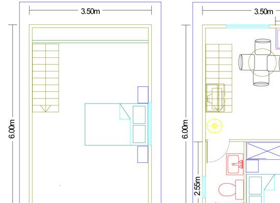 plano casa de madera dos plantas