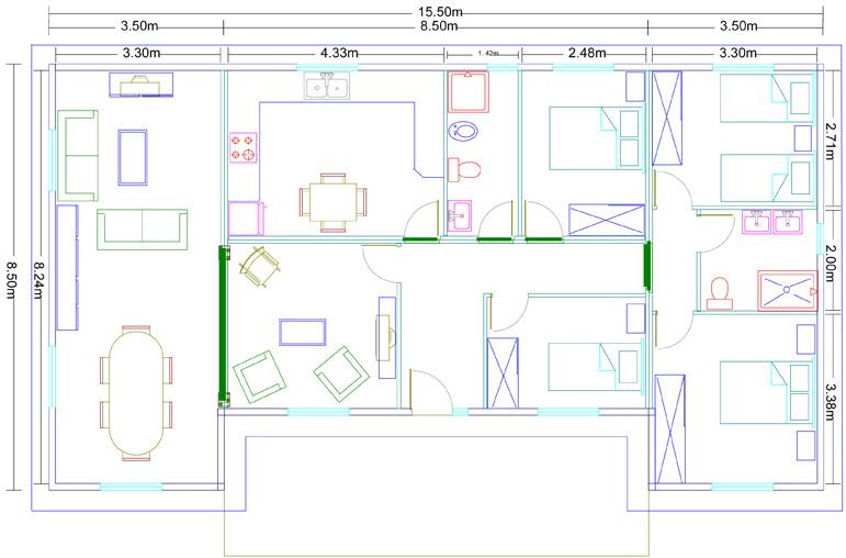 Plano vivienda modular 119 metros