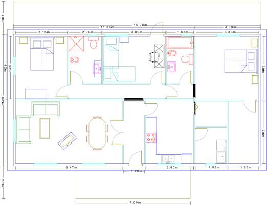 Plano Casa modular modelo Ricote
