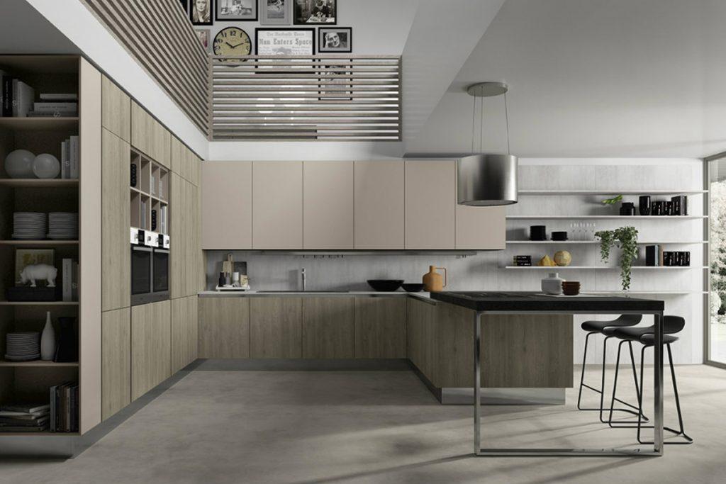Cucina moderna con penisola e piano snack in pietra  Casastore Salerno