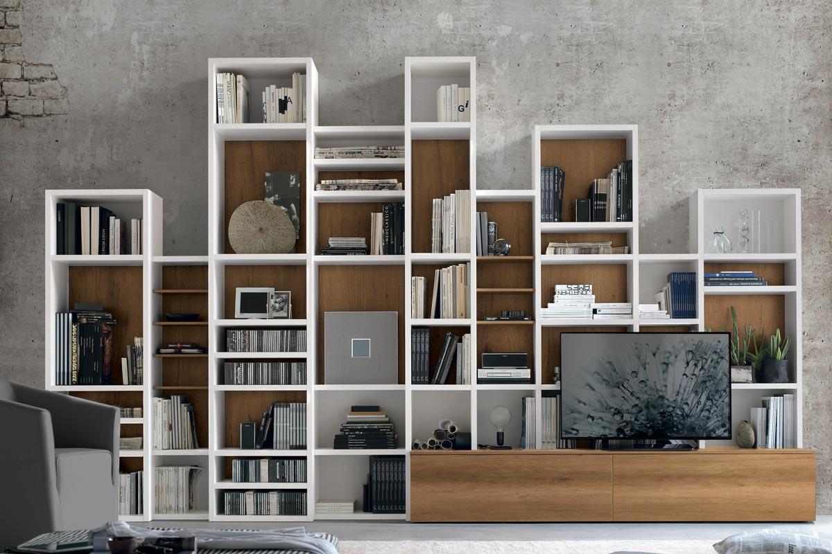Libreria A037 moderna con scaffali modulari Casa Store