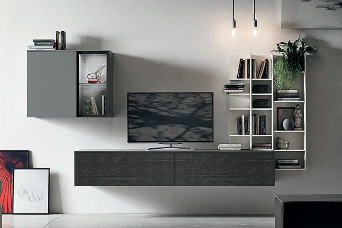 A052 Parete attrezzata con mobile PortaTV e libreria