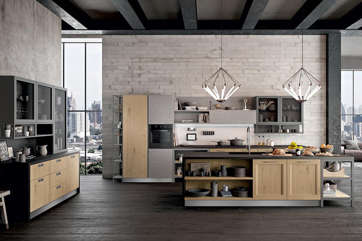 Cucina con isola dal design contemporaneo  Cucine CasaStore Salerno
