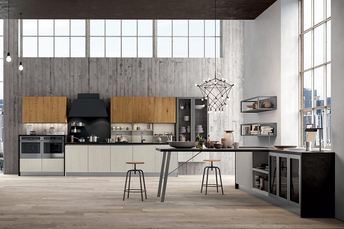 Cucina lineare a parete dal look industriale  Cucine