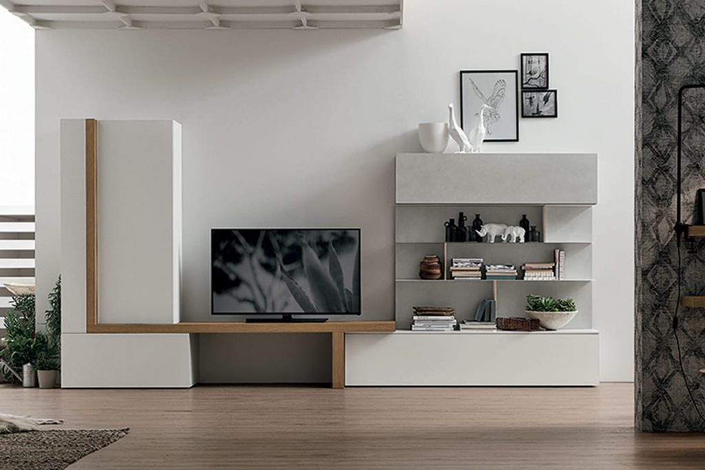 Parete attrezzata A077  Soggiorno moderno con porta TV e libreria