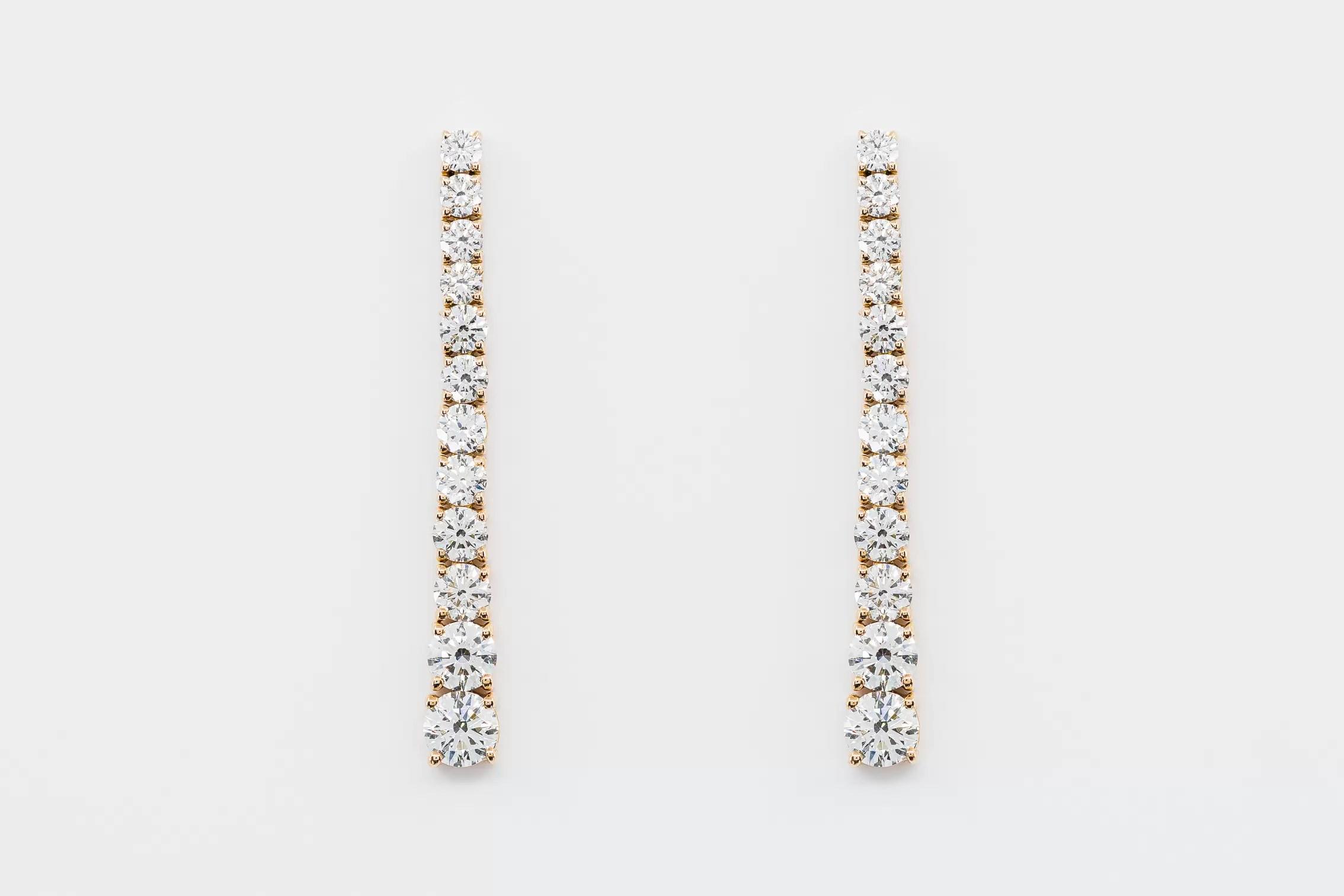 Crivelli orecchini lunghi pendenti diamanti oro rosa