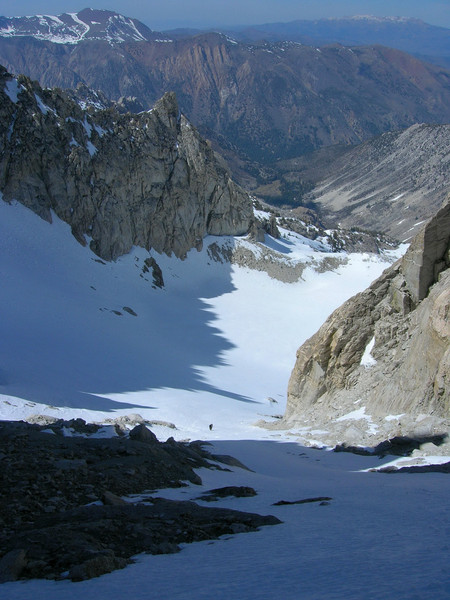 Looking down the East couloir