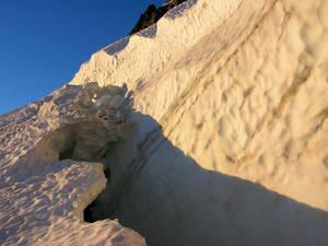 Bergshrund on lower glacier