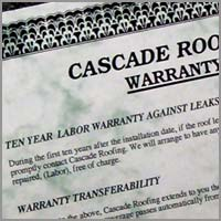 Warranty For The Roofs We Build Our Warranty At Cascade