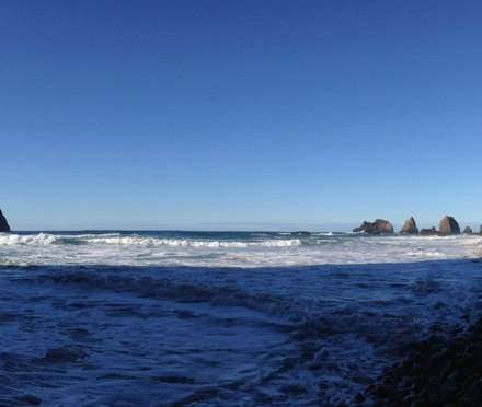 The view from inside a cove in Oceanside, OR