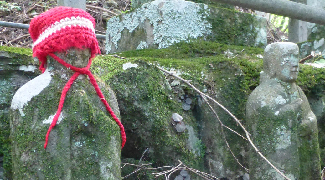 Statue with knitted cap