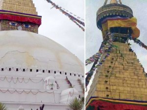 Cracks in the stupa of Boudhanath in Kathmandu (Photo by @JigmeUgen on Twitter)