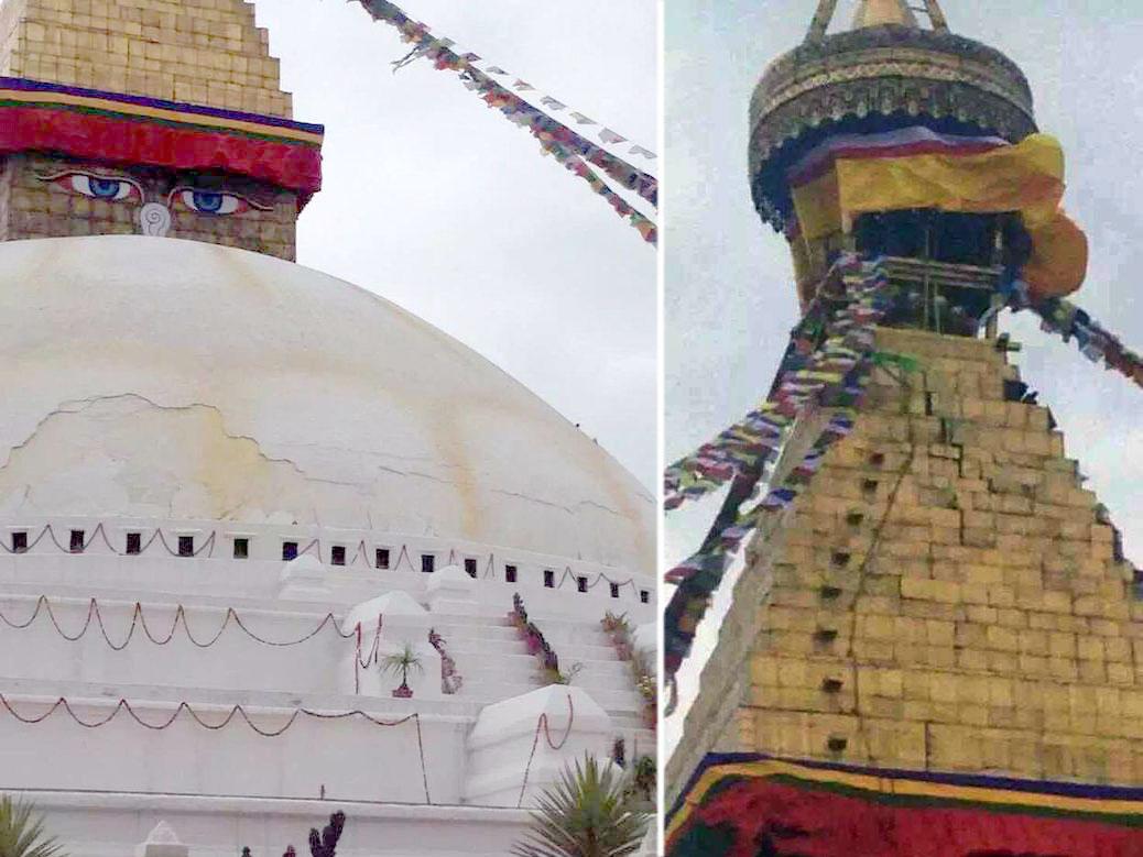 Cracks in the stupa of Boudhanath in Kathmandu (Photo by @JigmeUgen on Twitter)